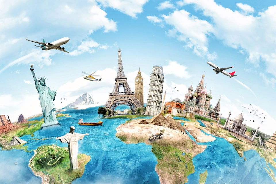 Article featured image showing the world map with some major landmarks of each country in 3D on the map.