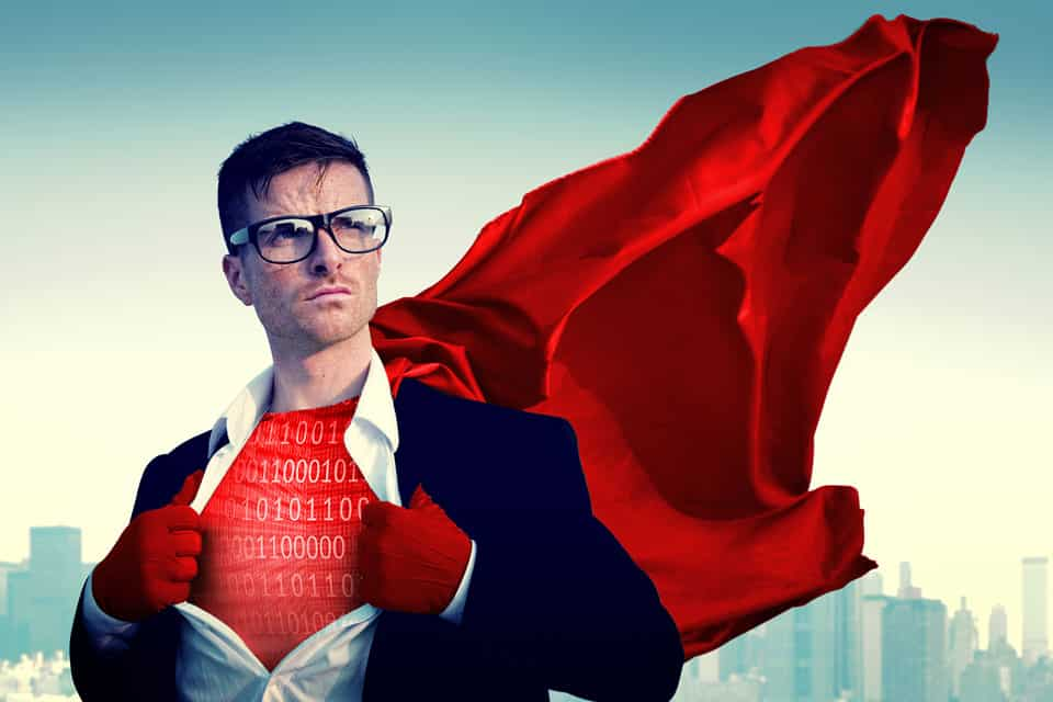 Article featured image metaphorically showing a super hero of the digital age